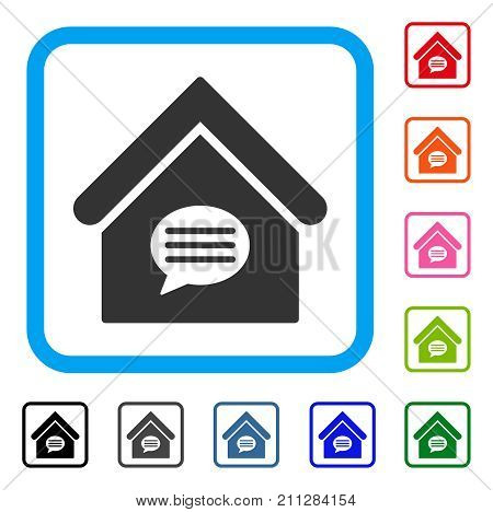 Realty Message icon. Flat grey pictogram symbol in a blue rounded rectangle. Black, gray, green, blue, red, orange color versions of Realty Message vector.