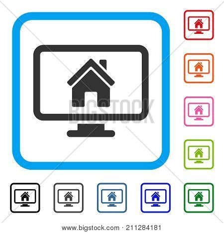 Realty Monitoring icon. Flat grey iconic symbol inside a blue rounded rectangle. Black, gray, green, blue, red, orange color additional versions of Realty Monitoring vector.