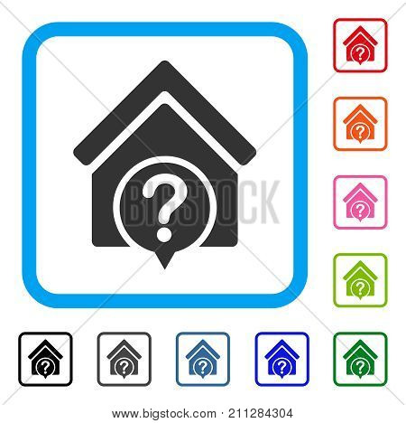 Realty State icon. Flat grey iconic symbol inside a blue rounded frame. Black, gray, green, blue, red, orange color additional versions of Realty State vector. Designed for web and application UI.