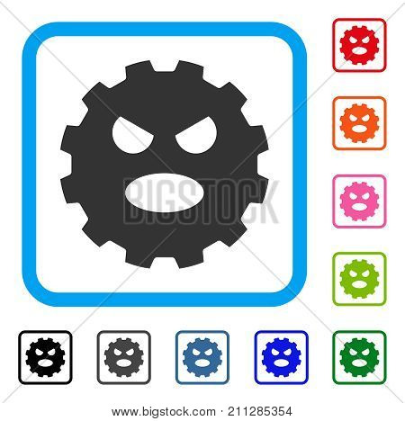 Scream Smiley Gear icon. Flat gray iconic symbol in a blue rounded rectangular frame. Black, gray, green, blue, red, orange color additional versions of Scream Smiley Gear vector.