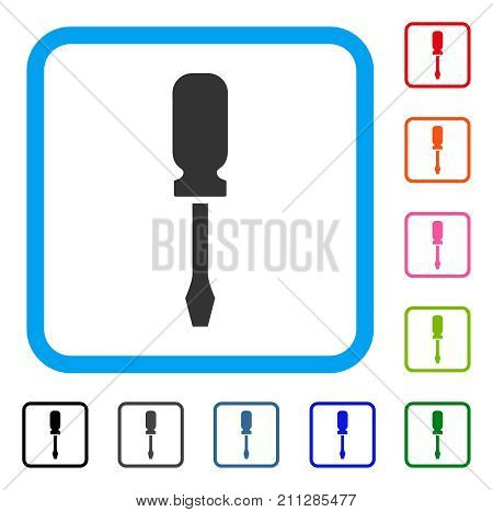 Screwdriver icon. Flat grey iconic symbol inside a blue rounded rectangle. Black, gray, green, blue, red, orange color versions of Screwdriver vector. Designed for web and application interfaces.