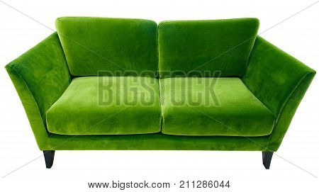 Green sofa. Soft velour fabric couch. Classic modern divan on isolated background.