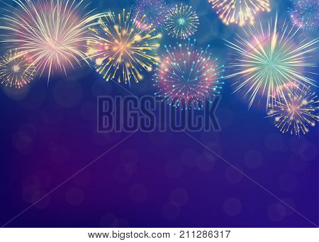Fireworks background on twilight blue backdrop. New year celebration pattern concept. Vector illustration
