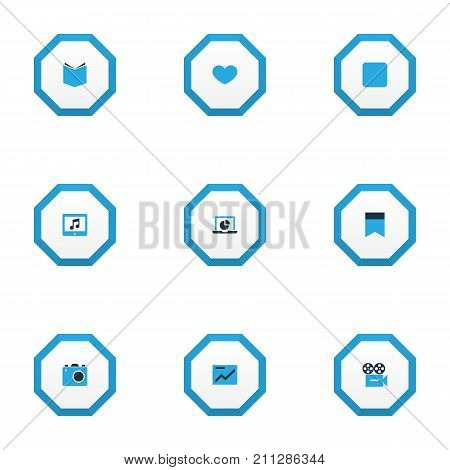 Multimedia Colorful Icons Set. Collection Of Tablet, Chart, Video And Other Elements