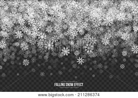 Vector Falling Snow Effect with White Realistic Snowflakes Overlay on Transparent Background. Merry Christmas Illustration. Winter Season Design Element