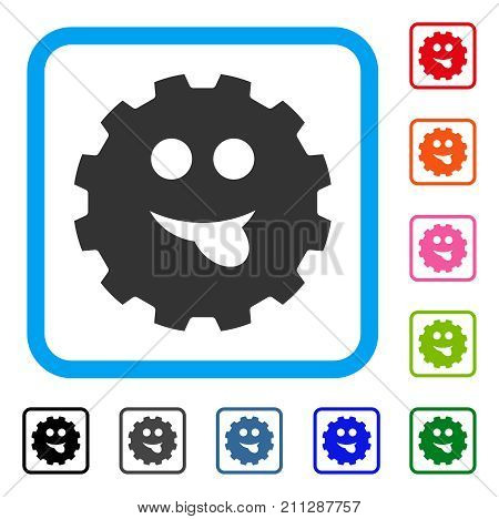 Tongue Smiley Gear icon. Flat grey pictogram symbol in a blue rounded rectangle. Black, gray, green, blue, red, orange color versions of Tongue Smiley Gear vector. Designed for web and software UI.