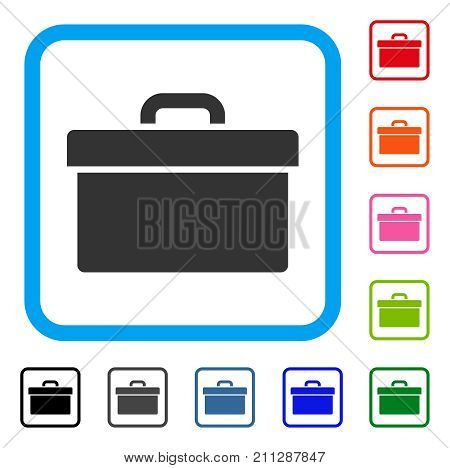 Toolbox icon. Flat gray pictogram symbol inside a blue rounded rectangle. Black, gray, green, blue, red, orange color versions of Toolbox vector. Designed for web and app interfaces.
