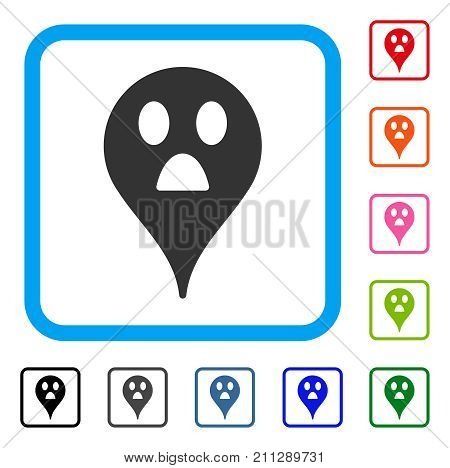 Wonder Smiley Map Marker icon. Flat grey iconic symbol inside a blue rounded frame. Black, gray, green, blue, red, orange color variants of Wonder Smiley Map Marker vector.