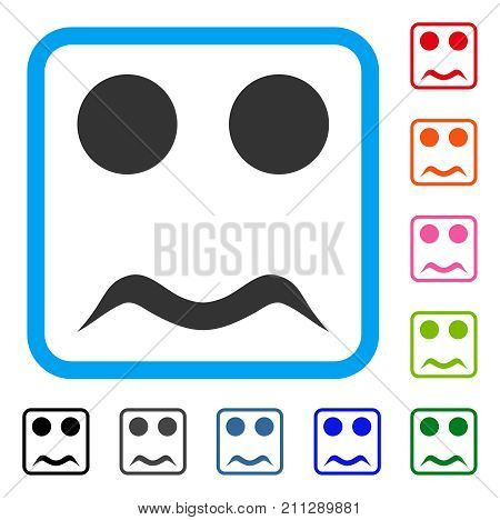 Worried Smile icon. Flat grey iconic symbol in a blue rounded square. Black, gray, green, blue, red, orange color versions of Worried Smile vector. Designed for web and app interfaces.