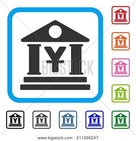 Yen Bank Building icon. Flat gray iconic symbol in a blue rounded squared frame. Black, gray, green, blue, red, orange color variants of Yen Bank Building vector.