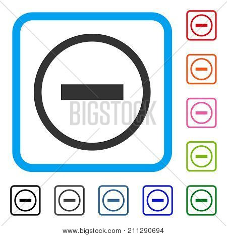 Delete icon. Flat grey iconic symbol in a blue rounded square. Black, gray, green, blue, red, orange color variants of Delete vector. Designed for web and app interfaces.