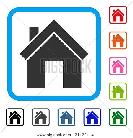 Home icon. Flat grey pictogram symbol in a blue rounded square. Black, gray, green, blue, red, orange color additional versions of Home vector. Designed for web and software interfaces.