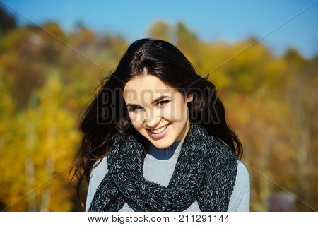 Girl Happy Smile With Long Brunette Hair On Sunny Day