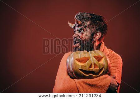 Halloween Satan Show Tongue With Horns, Beard, Blood, Wounds