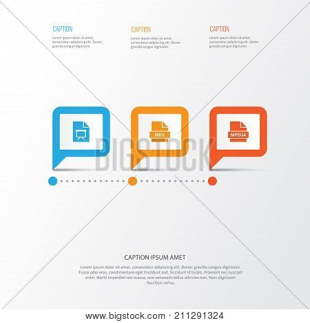 Types Icons Set. Collection Of Multimedia, Mp4, Education And Other Elements