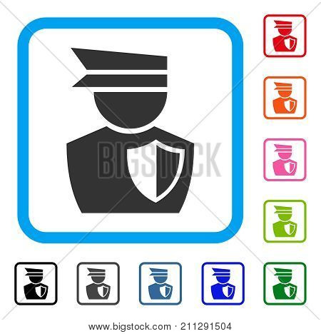 Police Officer icon. Flat gray pictogram symbol in a blue rounded rectangle. Black, gray, green, blue, red, orange color versions of Police Officer vector. Designed for web and software UI.
