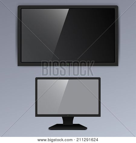 Realistic TV screen lcd, plasma isolated on gray background. Vector illustration.
