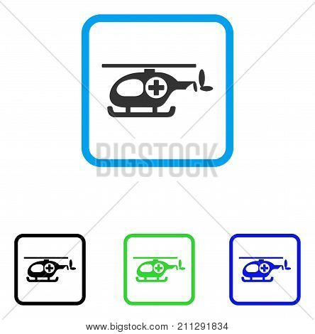 Ambulance Helicopter icon. Flat gray iconic symbol inside a blue rounded rectangle. Black, green, blue color variants of Ambulance Helicopter vector. Designed for web and software user interface.