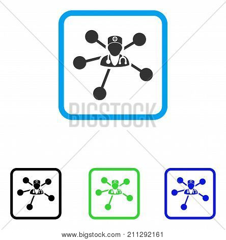 Doctor Relations icon. Flat gray iconic symbol in a blue rounded squared frame. Black, green, blue color variants of Doctor Relations vector. Designed for web and application UI.