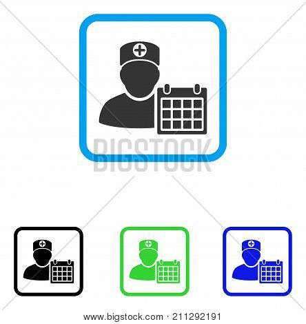 Doctor Schedule Calendar icon. Flat gray pictogram symbol in a blue rounded rectangular frame. Black, green, blue color variants of Doctor Schedule Calendar vector.