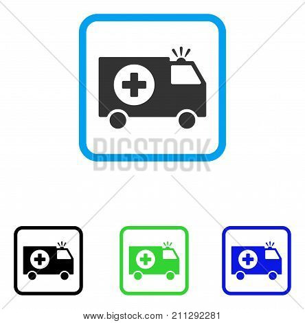 Emergency Van icon. Flat grey iconic symbol inside a blue rounded squared frame. Black, green, blue color versions of Emergency Van vector. Designed for web and app user interface.