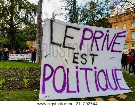 TOULOUSE, FRANCE - OCTOBER 29,2017: The demonstrators in the street to denounce sexual harassment. Inscription in French: