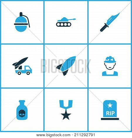Warfare Colorful Icons Set. Collection Of Soldier, Grave, Tank And Other Elements