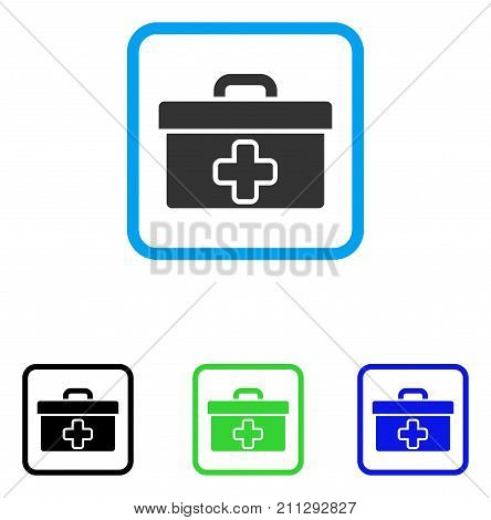Medical Tools Box icon. Flat gray pictogram symbol in a blue rounded rectangular frame. Black, green, blue color variants of Medical Tools Box vector. Designed for web and app user interface.