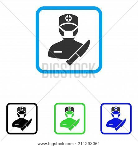 Surgeon icon. Flat grey pictogram symbol inside a blue rounded square. Black, green, blue color versions of Surgeon vector. Designed for web and application interfaces.