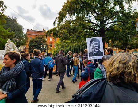 TOULOUSE FRANCE - OCTOBER 292017: The demonstrators in the street to denounce sexual harassment.