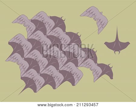 Loopable Vector of Manta Ray and Bird Modules Element For Tessellation Pattern