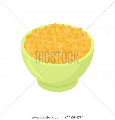 Bowl Of Bulgur Gruel Isolated. Healthy Food For Breakfast. Vector Illustration