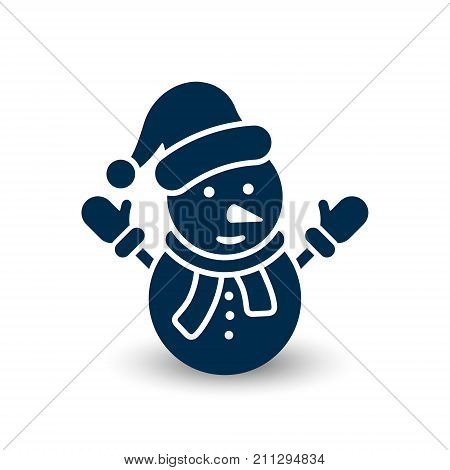 Snowman icon vector festive simple symbol. Snowman with hat flat silhouette illustration.