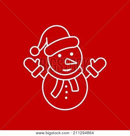 Snowman line icon vector outline symbol isolated on red background. Snowman with hat flat silhouette illustration.