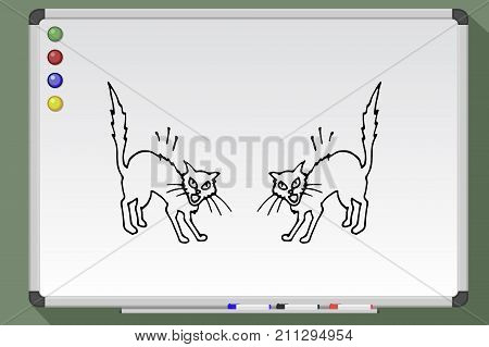 Cat Kitten Clip Art - Line - Fighting Transparent PNG