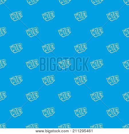 WTF, comic book bubble text pattern repeat seamless in blue color for any design. Vector geometric illustration