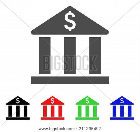Bank Building icon. Vector illustration style is a flat iconic bank building symbol with black, red, green, blue color variants. Designed for web and software interfaces.