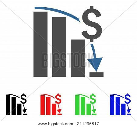 Financial Crisis Chart icon. Vector illustration style is a flat iconic financial crisis chart symbol with black, red, green, blue color versions. Designed for web and software interfaces.