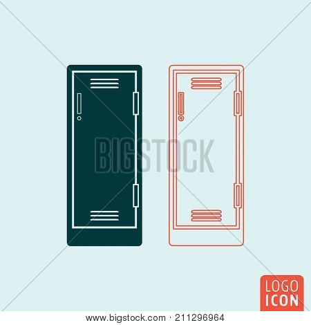 Locker icon isolated. Storage compartment or school lockers symbol. Vector illustration.