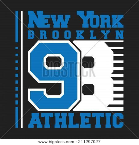T-shirt print design. New York 98 vintage stamp for denim t shirt. Printing and badge applique label t-shirts jeans casual and urban wear. Vector illustration.