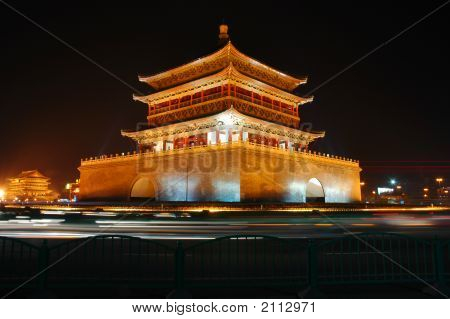 Xian Bell Tower lit up at night poster