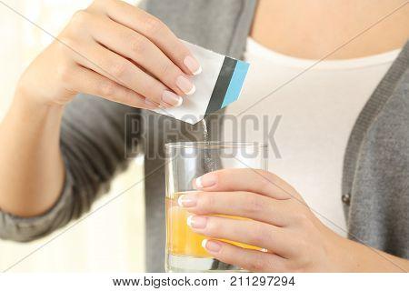Woman Preparing A Mucolytic Bag Medicine