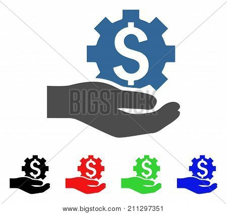 Industrial Banking Service Hand icon. Vector illustration style is a flat iconic industrial banking service hand symbol with black, red, green, blue color versions.