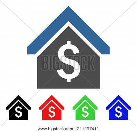 Loan Mortgage icon. Vector illustration style is a flat iconic loan mortgage symbol with black, red, green, blue color variants. Designed for web and software interfaces.