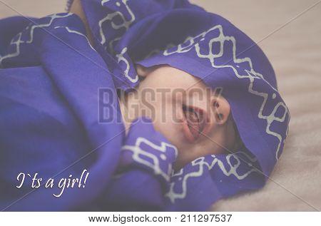 Baby Newborn Girl In The Blue (purple) Hijab, Newborn Girl Covered In Hijab Scurf