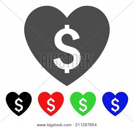 Paid Love icon. Vector illustration style is a flat iconic paid love symbol with black, red, green, blue color versions. Designed for web and software interfaces.