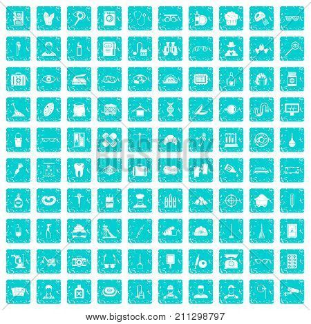 100 profession icons set in grunge style blue color isolated on white background vector illustration