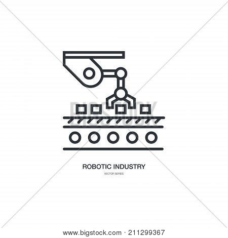 Vector linear style icon set with automated factory equipment. Industrial machines, automated production line.