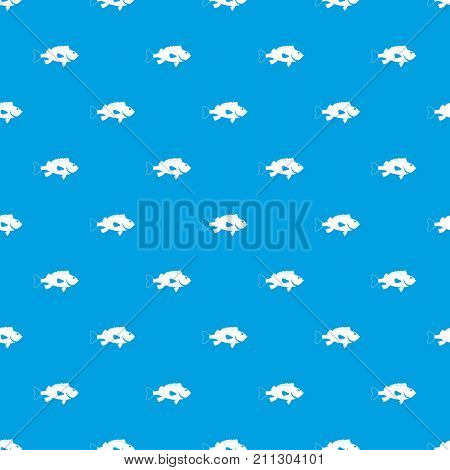Sea bass fish pattern repeat seamless in blue color for any design. Vector geometric illustration