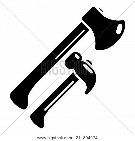 Hammer and axe icon. Simple illustration of hammer and axe vector icon for web